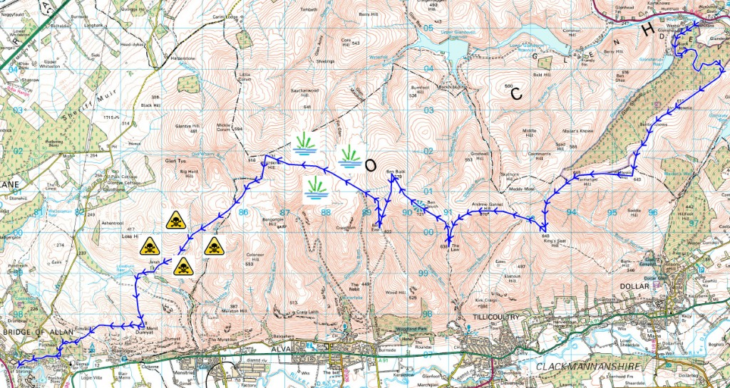 "Ochil 2000s route - symbols added to highlight ""tricky"" sections"